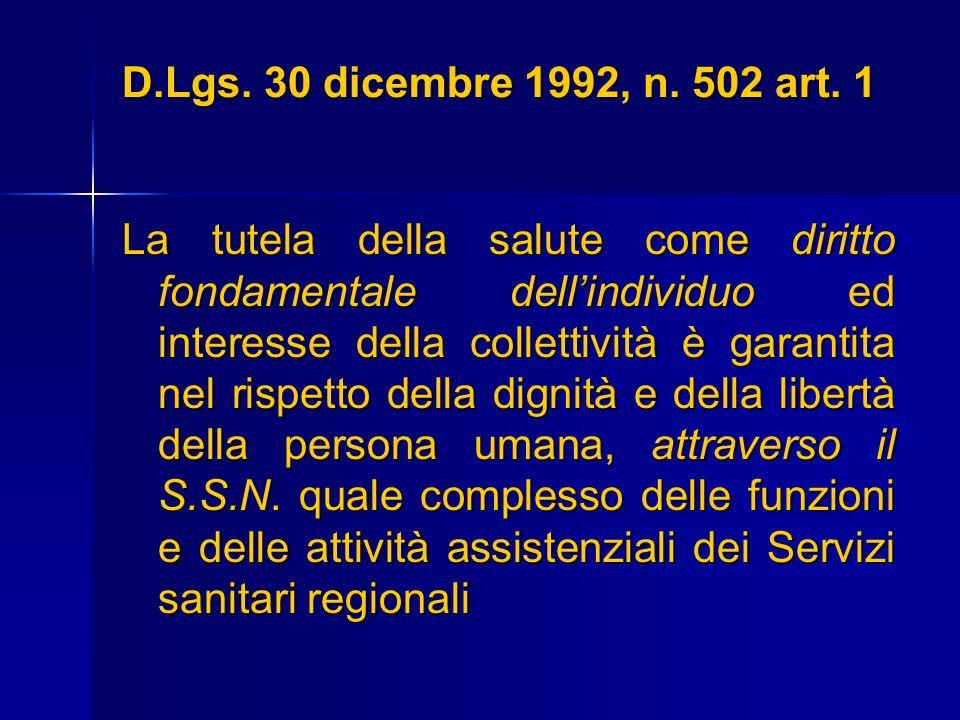 D.Lgs. 30 dicembre 1992, n. 502 art. 1 La tutela della salute come diritto fondamentale dellindividuo ed interesse della collettività è garantita nel