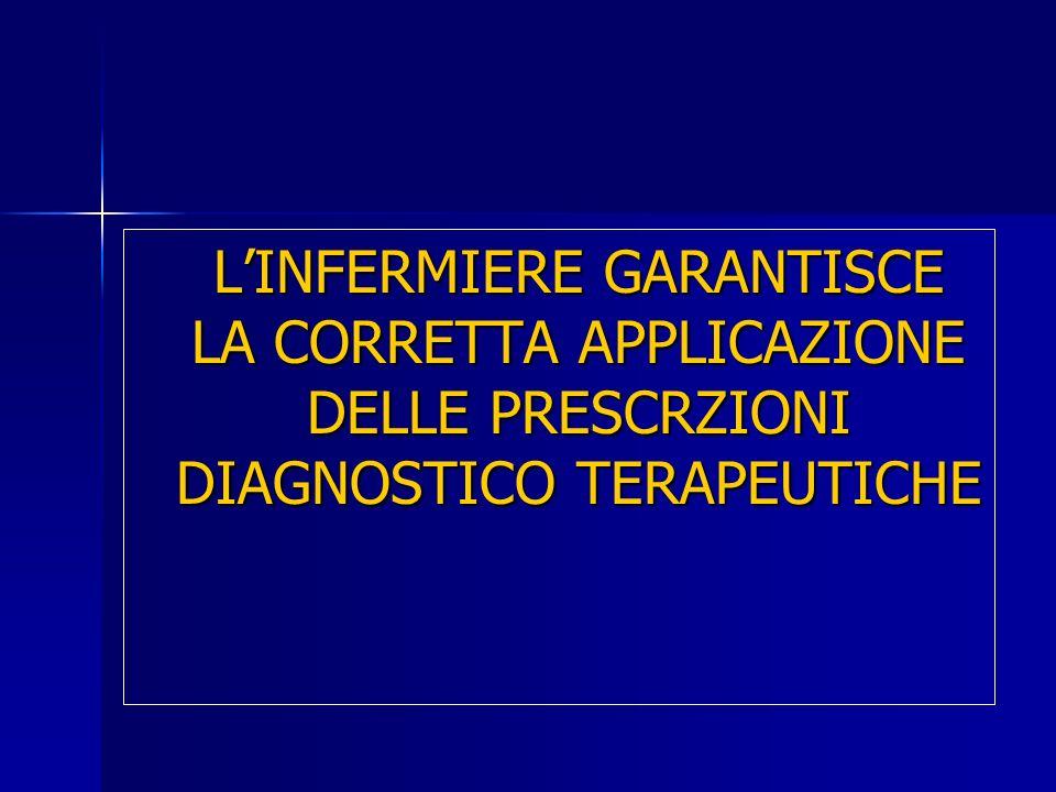 LINFERMIERE GARANTISCE LA CORRETTA APPLICAZIONE DELLE PRESCRZIONI DIAGNOSTICO TERAPEUTICHE