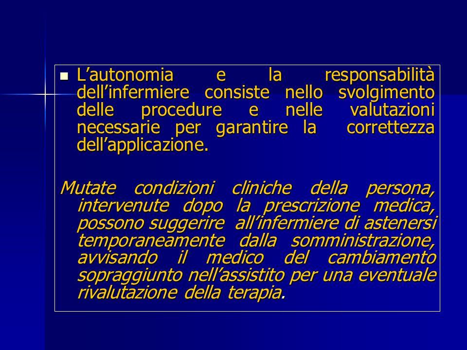 Lautonomia e la responsabilità dellinfermiere consiste nello svolgimento delle procedure e nelle valutazioni necessarie per garantire la correttezza d