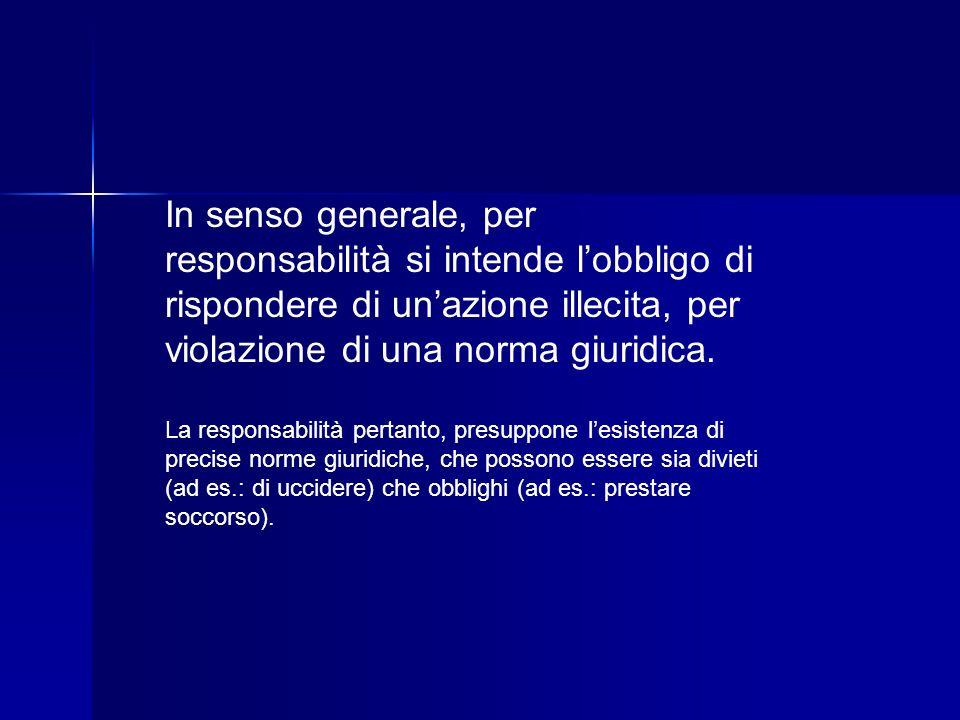 In senso generale, per responsabilità si intende lobbligo di rispondere di unazione illecita, per violazione di una norma giuridica. La responsabilità