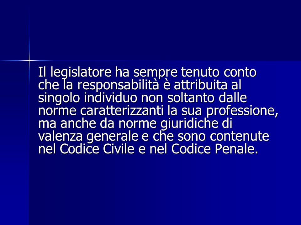 Il legislatore ha sempre tenuto conto che la responsabilità è attribuita al singolo individuo non soltanto dalle norme caratterizzanti la sua professi