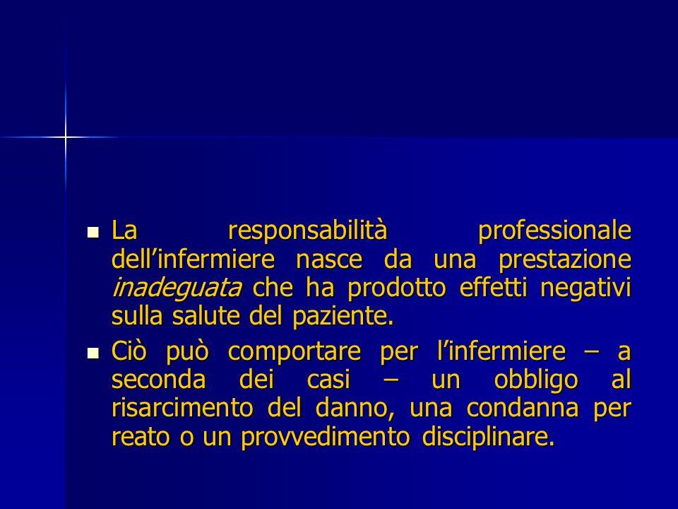 La responsabilità professionale dellinfermiere nasce da una prestazione inadeguata che ha prodotto effetti negativi sulla salute del paziente. La resp