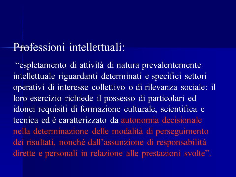 Professioni intellettuali: espletamento di attività di natura prevalentemente intellettuale riguardanti determinati e specifici settori operativi di i