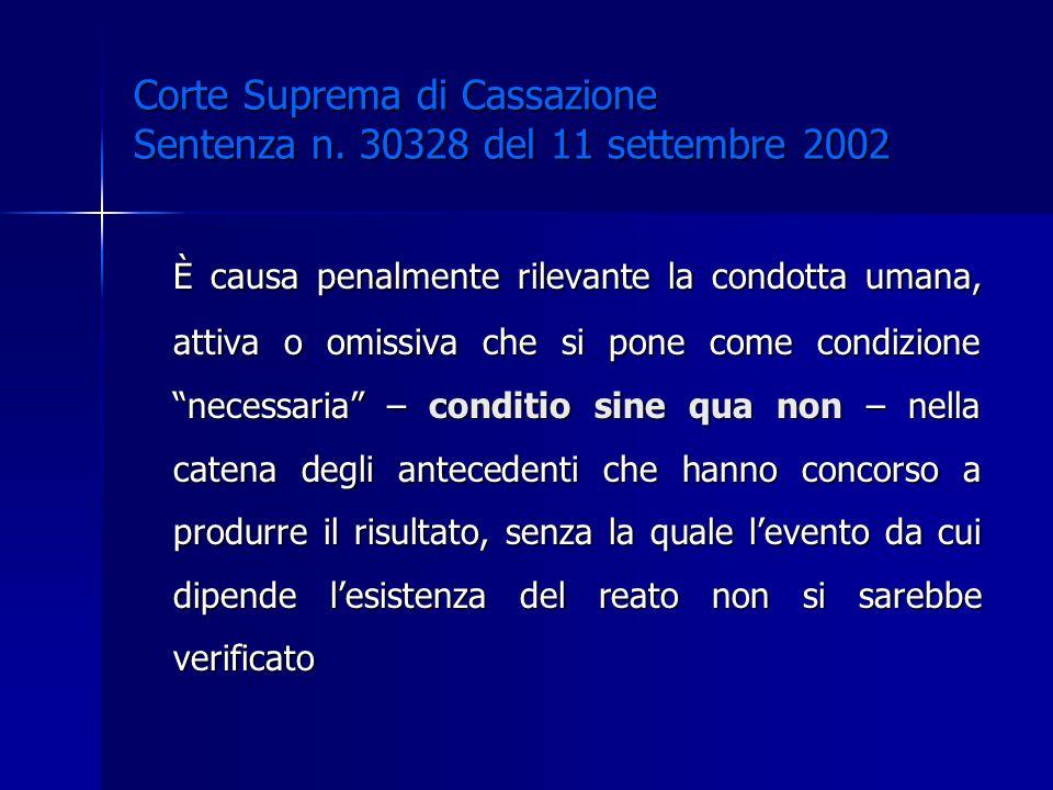 Corte Suprema di Cassazione Sentenza n. 30328 del 11 settembre 2002 È causa penalmente rilevante la condotta umana, attiva o omissiva che si pone come