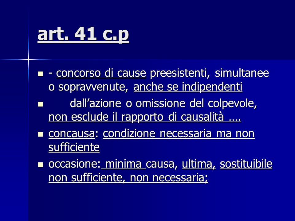 art. 41 c.p - concorso di cause preesistenti, simultanee o sopravvenute, anche se indipendenti - concorso di cause preesistenti, simultanee o sopravve