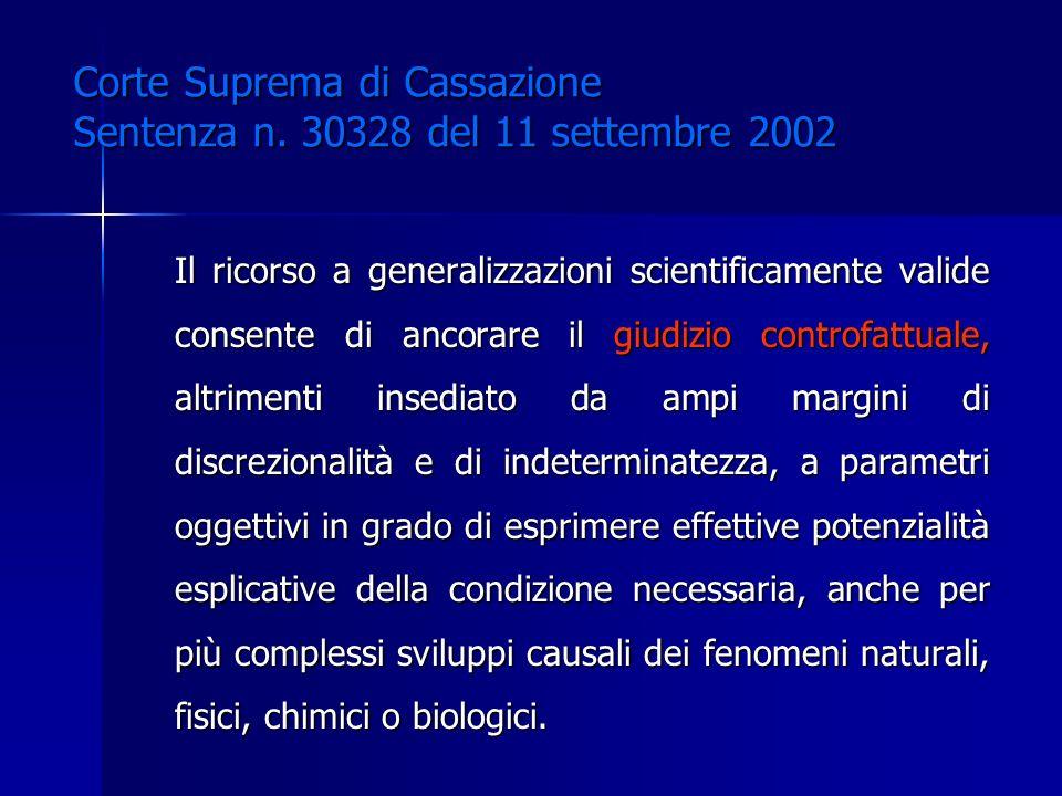 Il ricorso a generalizzazioni scientificamente valide consente di ancorare il giudizio controfattuale, altrimenti insediato da ampi margini di discrez