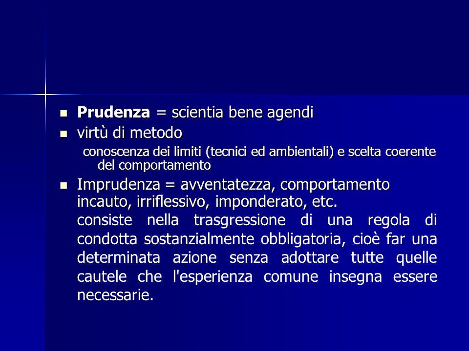 Prudenza = scientia bene agendi Prudenza = scientia bene agendi virtù di metodo virtù di metodo conoscenza dei limiti (tecnici ed ambientali) e scelta