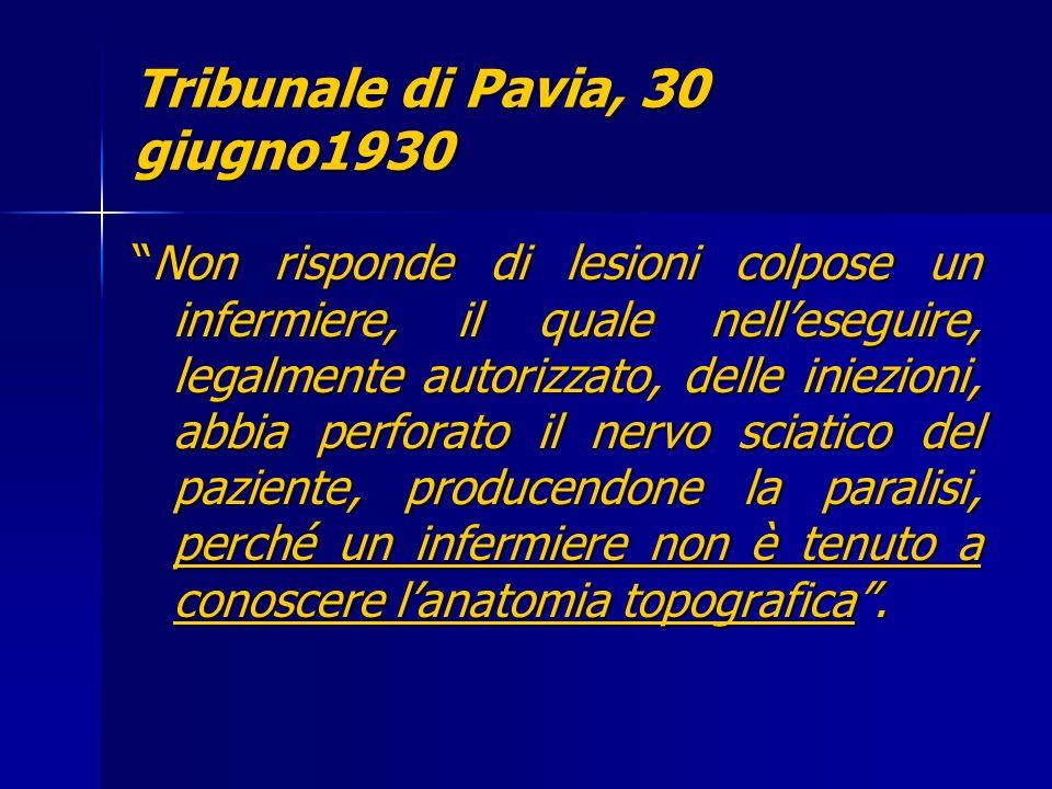 Tribunale di Pavia, 30 giugno1930 Non risponde di lesioni colpose un infermiere, il quale nelleseguire, legalmente autorizzato, delle iniezioni, abbia