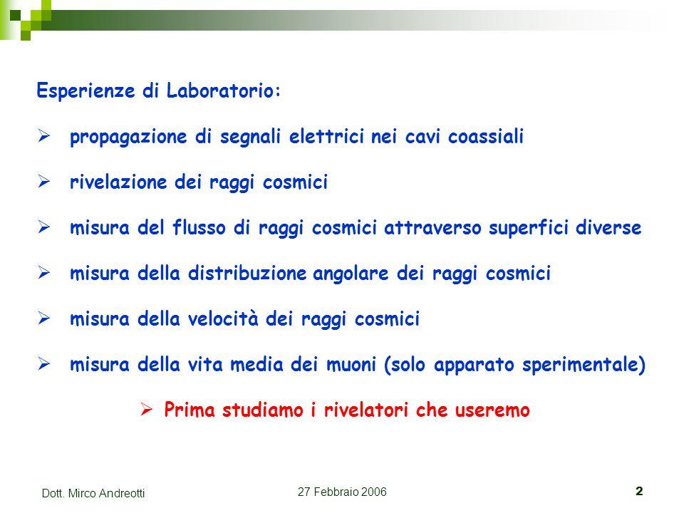 27 Febbraio 20062 Dott. Mirco Andreotti Esperienze di Laboratorio: propagazione di segnali elettrici nei cavi coassiali rivelazione dei raggi cosmici