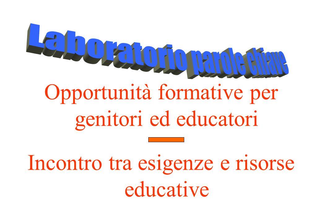 Opportunità formative per genitori ed educatori Incontro tra esigenze e risorse educative