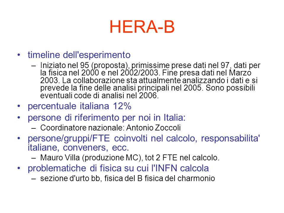 HERA-B modalita di analisi: fatta dove, come, tipi/quantita di dati e loro localizzazione, produzioni MC, storage –Prime analisi effettuate sulle farm del DESY con la produzione di eventi selezionati (centralizzate) e di ntuple.
