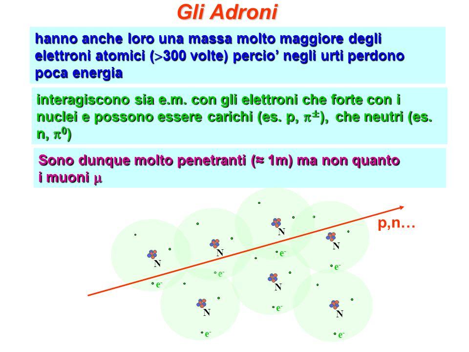 hanno anche loro una massa molto maggiore degli elettroni atomici ( 300 volte) percio negli urti perdono poca energia Gli Adroni interagiscono sia e.m