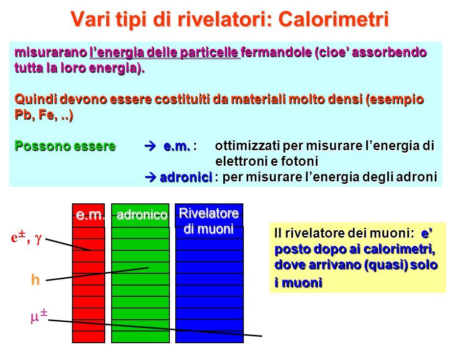 Vari tipi di rivelatori: Calorimetri misurarano lenergia delle particelle fermandole (cioe assorbendo tutta la loro energia). Quindi devono essere cos