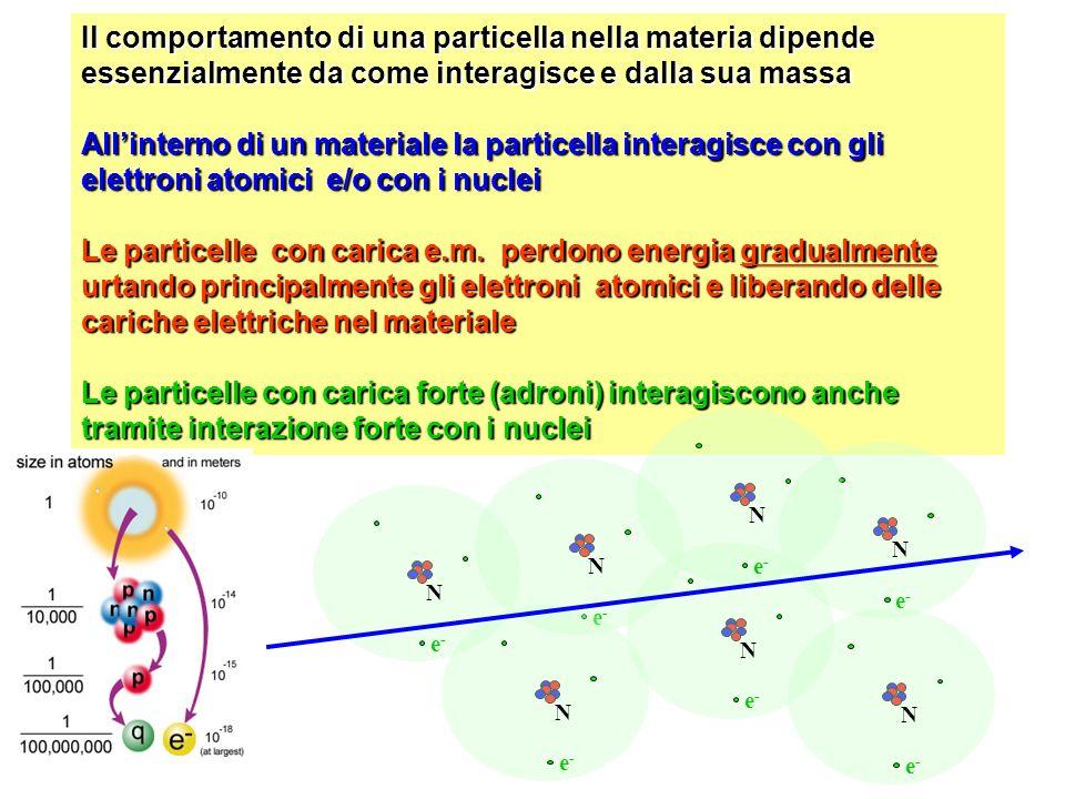 Il comportamento di una particella nella materia dipende essenzialmente da come interagisce e dalla sua massa Allinterno di un materiale la particella