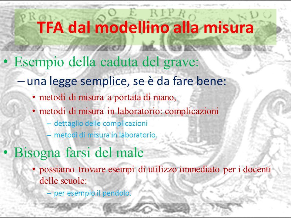 TFA dal modellino alla misura Esempio della caduta del grave: – una legge semplice, se è da fare bene: metodi di misura a portata di mano, metodi di m
