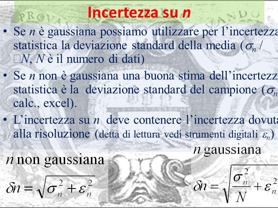 Incertezza su n Se n è gaussiana possiamo utilizzare per lincertezza statistica la deviazione standard della media n N N è il numero di dati Se n non