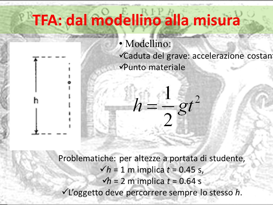 TFA: dal modellino alla misura Modellino: Caduta del grave: accelerazione costante Punto materiale Problematiche: per altezze a portata di studente, h