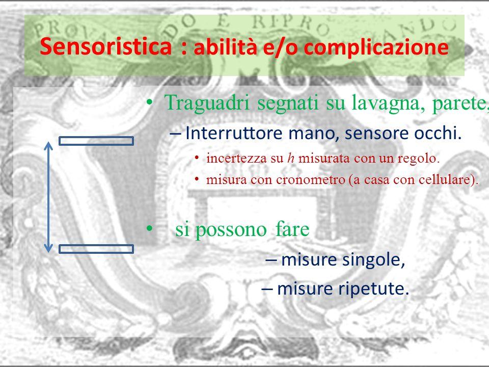 Sensoristica : abilità e/o complicazione Traguadri segnati su lavagna, parete, – Interruttore mano, sensore occhi. incertezza su h misurata con un reg