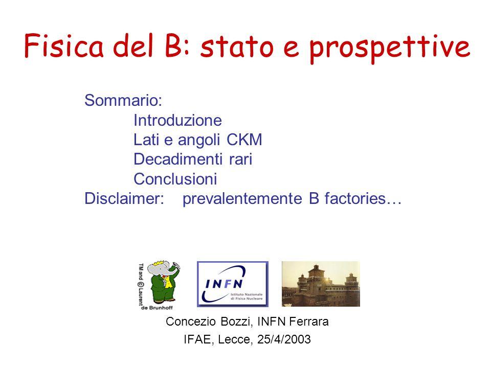 Fisica del B: stato e prospettive Concezio Bozzi, INFN Ferrara IFAE, Lecce, 25/4/2003 Sommario: Introduzione Lati e angoli CKM Decadimenti rari Conclu