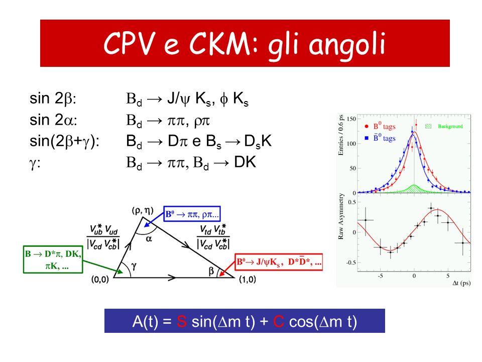 CPV e CKM: gli angoli sin 2 d J/ K s, K s sin 2 d, sin(2 + ): B d D e B s D s K d d DK A(t) = S sin( m t) + C cos( m t)