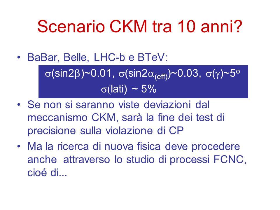 BaBar, Belle, LHC-b e BTeV: (sin2 )~0.01, (sin2 (eff) )~0.03, ( )~5 o lati) ~ 5% Se non si saranno viste deviazioni dal meccanismo CKM, sarà la fine d