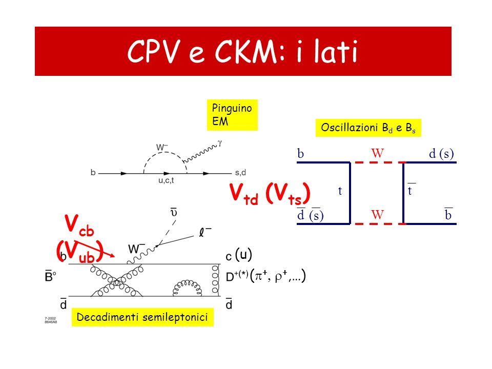 Semileptonici: V cb, V ub Approccio esclusivo a V cb : BDl, BD*l –Misura | V cb | × fattore di forma, conosciuto al 4% –Sistematicamente limitata –Sistematici altamente correlati (BR(D), D**, fattori di forma) –Precisione migliorerà ma impatto sul triangolo ormai trascurabile Approccio esclusivo a V ub : dipendenza dai fattori di forma, calcolabili su reticolo –Errore teorico ~5% su una scala di 4-10 anni (conservativo) Approccio inclusivo a V ub.