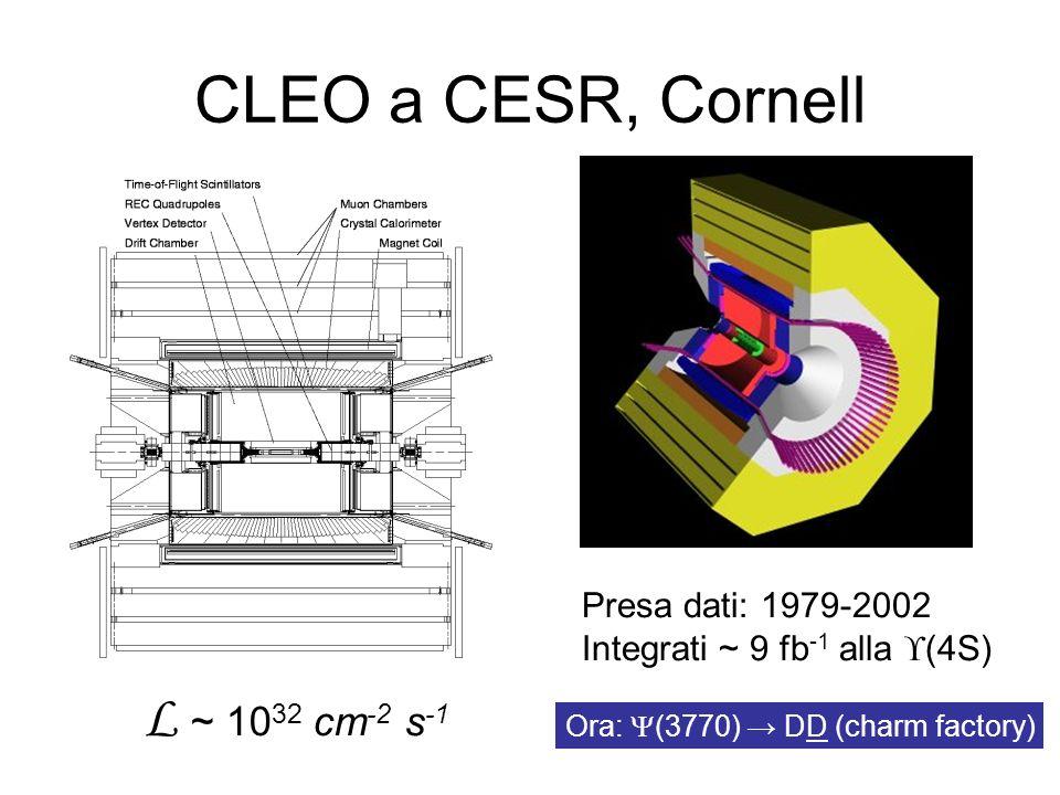CLEO a CESR, Cornell L ~ 10 32 cm -2 s -1 Presa dati: 1979-2002 Integrati ~ 9 fb -1 alla (4S) Ora: (3770) DD (charm factory)