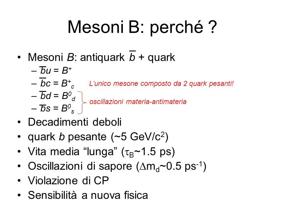 Cinematica (4S) BB m (4S) =10.580Gev; 2m B =10.557 GeV p B =340MeV; c ~30 m –Decadimento a riposo –Impossibile effettuare misure temporali con fasci simmetrici 5 tracce cariche, 5 fotoni per decadimento: –Complicato distinguere i 2 decadimenti (combinatorio) Discriminazione del continuo: –Event shape –Cinematica –Presa dati al difuori del picco CLEO a CESR, Cornell, USA
