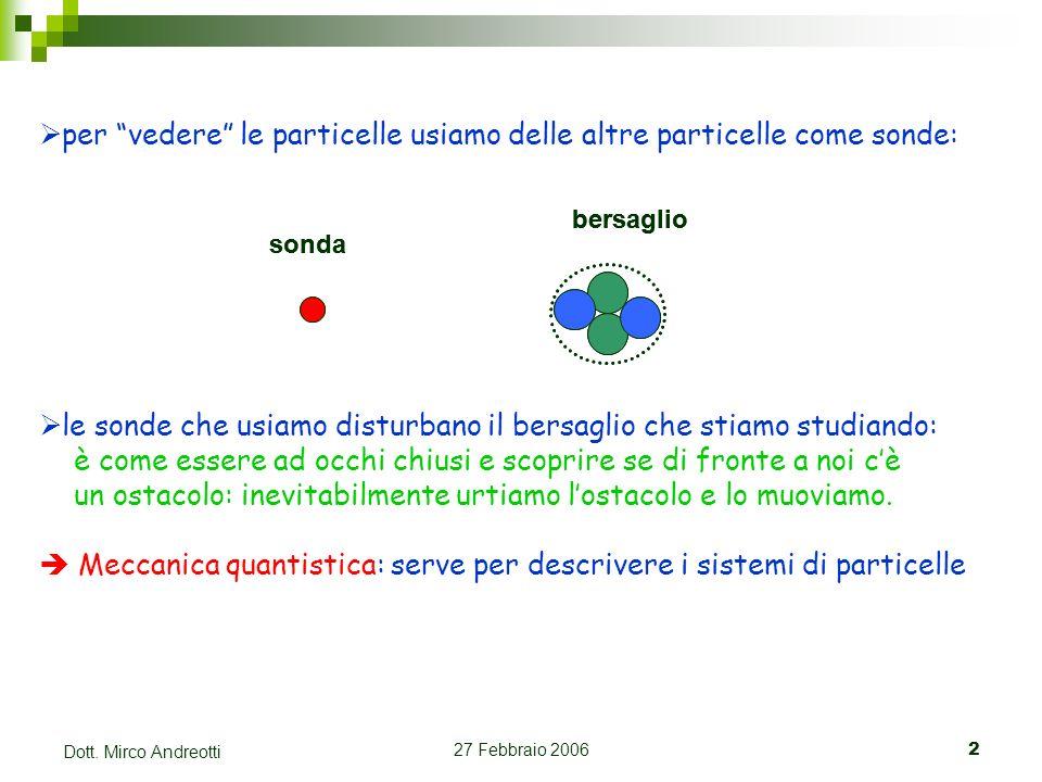 27 Febbraio 20062 Dott. Mirco Andreotti per vedere le particelle usiamo delle altre particelle come sonde: sonda bersaglio sonda bersaglio le sonde ch