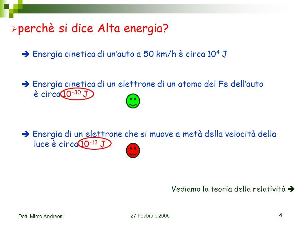 27 Febbraio 20064 Dott. Mirco Andreotti perchè si dice Alta energia? Energia cinetica di unauto a 50 km/h è circa 10 4 J Energia cinetica di un elettr