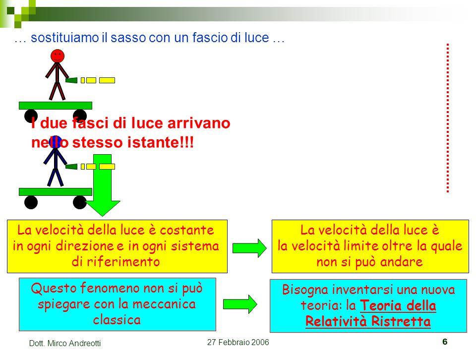 27 Febbraio 20066 Dott. Mirco Andreotti … sostituiamo il sasso con un fascio di luce … I due fasci di luce arrivano nello stesso istante!!! La velocit