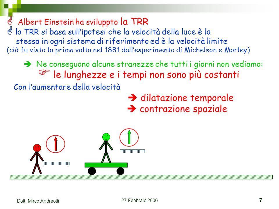 27 Febbraio 20067 Dott. Mirco Andreotti Albert Einstein ha sviluppto la TRR la TRR si basa sullipotesi che la velocità della luce è la stessa in ogni