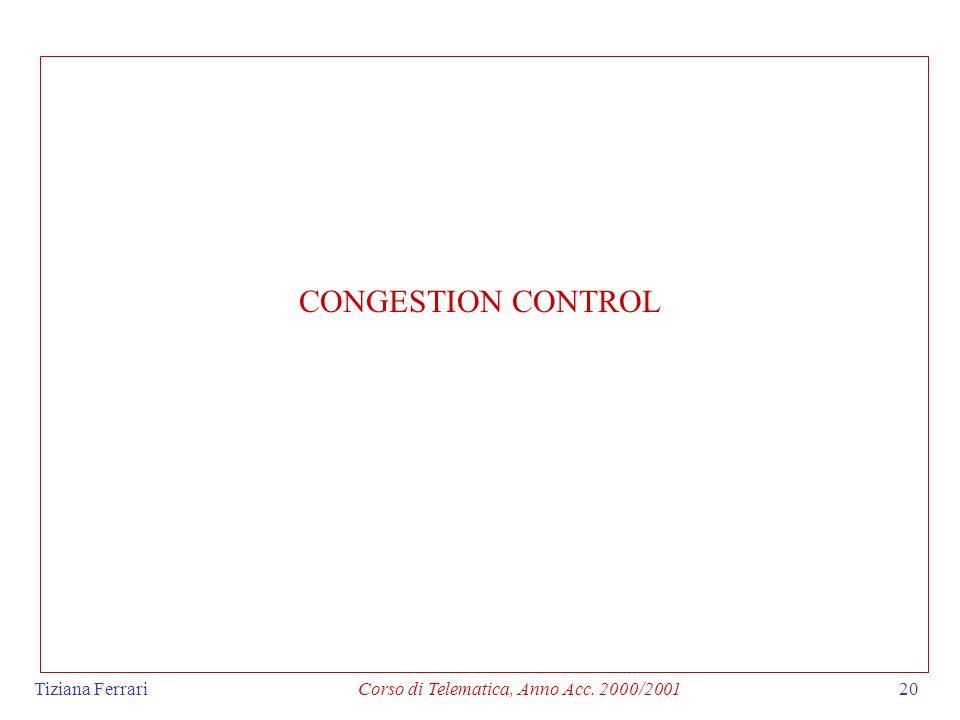 Tiziana FerrariCorso di Telematica, Anno Acc. 2000/200120 CONGESTION CONTROL