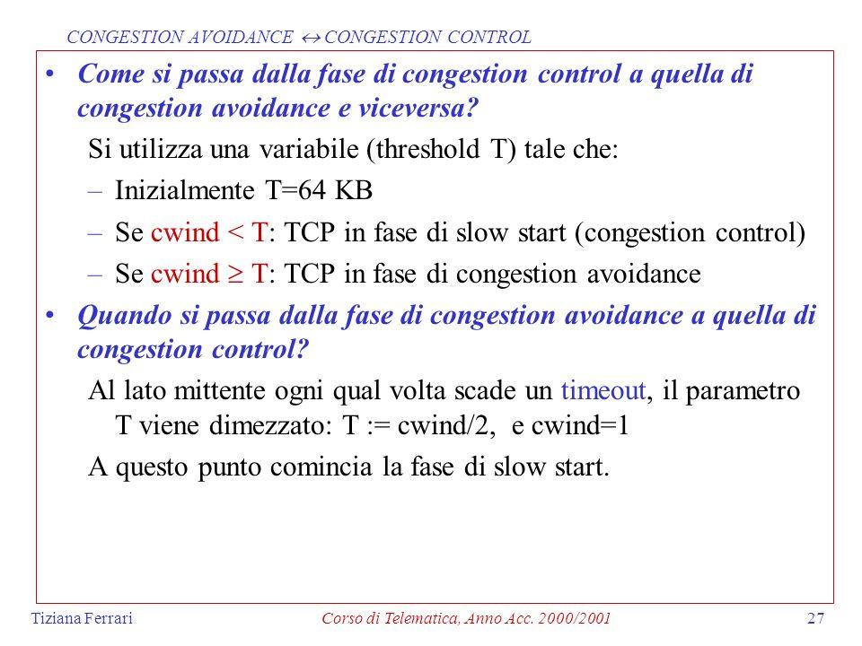 Tiziana FerrariCorso di Telematica, Anno Acc. 2000/200127 Come si passa dalla fase di congestion control a quella di congestion avoidance e viceversa?