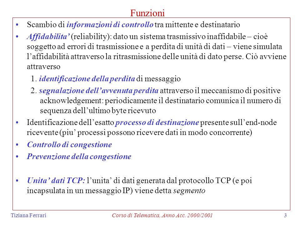 Tiziana FerrariCorso di Telematica, Anno Acc. 2000/20013 Funzioni Scambio di informazioni di controllo tra mittente e destinatario Affidabilita (relia