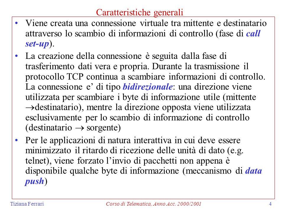 Tiziana FerrariCorso di Telematica, Anno Acc. 2000/20014 Caratteristiche generali Viene creata una connessione virtuale tra mittente e destinatario at