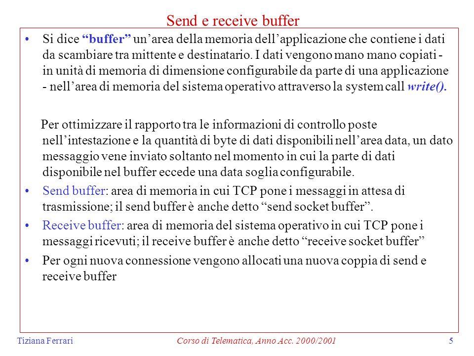 Tiziana FerrariCorso di Telematica, Anno Acc. 2000/20015 Send e receive buffer Si dice buffer unarea della memoria dellapplicazione che contiene i dat