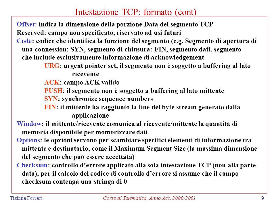 Tiziana FerrariCorso di Telematica, Anno Acc. 2000/20019 Intestazione TCP: formato (cont) Offset: indica la dimensione della porzione Data del segment