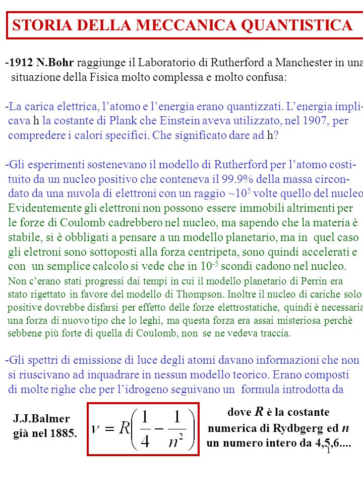 1 STORIA DELLA MECCANICA QUANTISTICA -1912 N.Bohr raggiunge il Laboratorio di Rutherford a Manchester in una situazione della Fisica molto complessa e