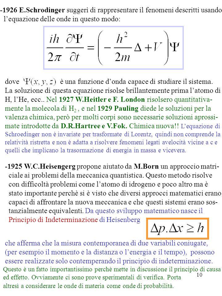 10 -1926 E.Schrodinger suggerì di rappresentare il fenomeni descritti usando lequazione delle onde in questo modo: dove è una funzione donda capace di
