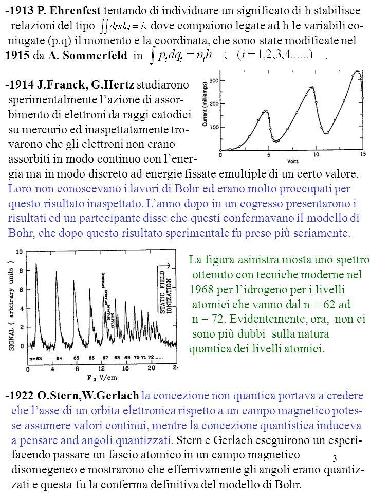 3 -1913 P. Ehrenfest tentando di individuare un significato di h stabilisce relazioni del tipo dove compaiono legate ad h le variabili co- niugate (p.