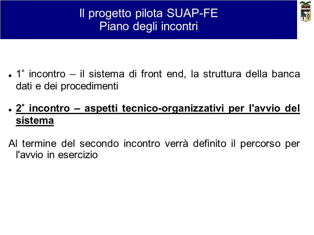 Il progetto pilota SUAP-FE Piano degli incontri 1° incontro – il sistema di front end, la struttura della banca dati e dei procedimenti 2° incontro –