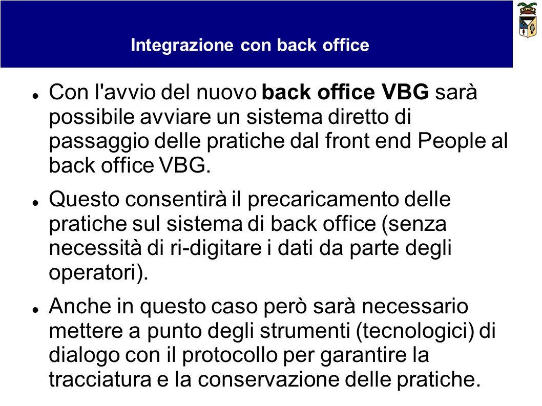 Bollo virtuale e pagamenti Integrazione con back office Con l'avvio del nuovo back office VBG sarà possibile avviare un sistema diretto di passaggio d