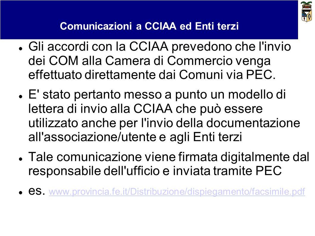 Bollo virtuale e pagamenti Comunicazioni a CCIAA ed Enti terzi Gli accordi con la CCIAA prevedono che l'invio dei COM alla Camera di Commercio venga e