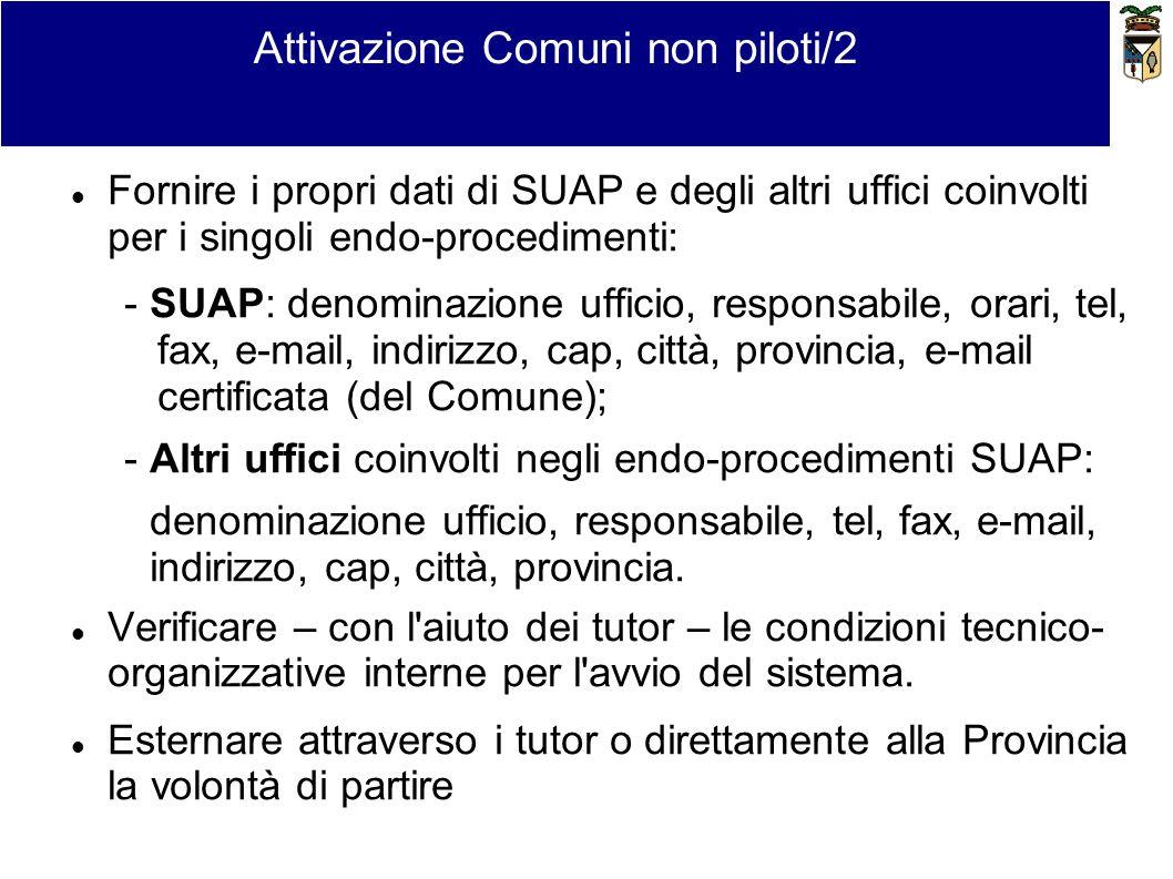 Attivazione Comuni non piloti/2 Fornire i propri dati di SUAP e degli altri uffici coinvolti per i singoli endo-procedimenti: - SUAP: denominazione uf