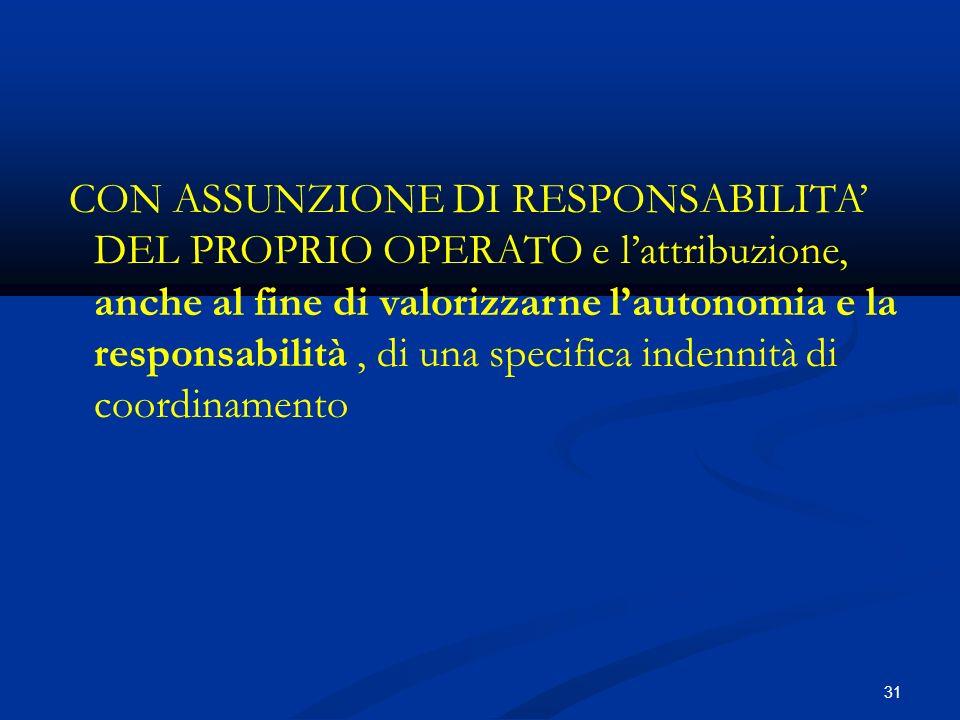 31 CON ASSUNZIONE DI RESPONSABILITA DEL PROPRIO OPERATO e lattribuzione, anche al fine di valorizzarne lautonomia e la responsabilità, di una specifica indennità di coordinamento
