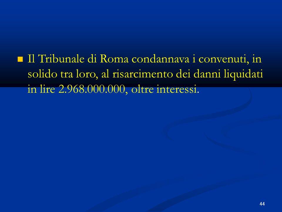 44 Il Tribunale di Roma condannava i convenuti, in solido tra loro, al risarcimento dei danni liquidati in lire 2.968.000.000, oltre interessi.