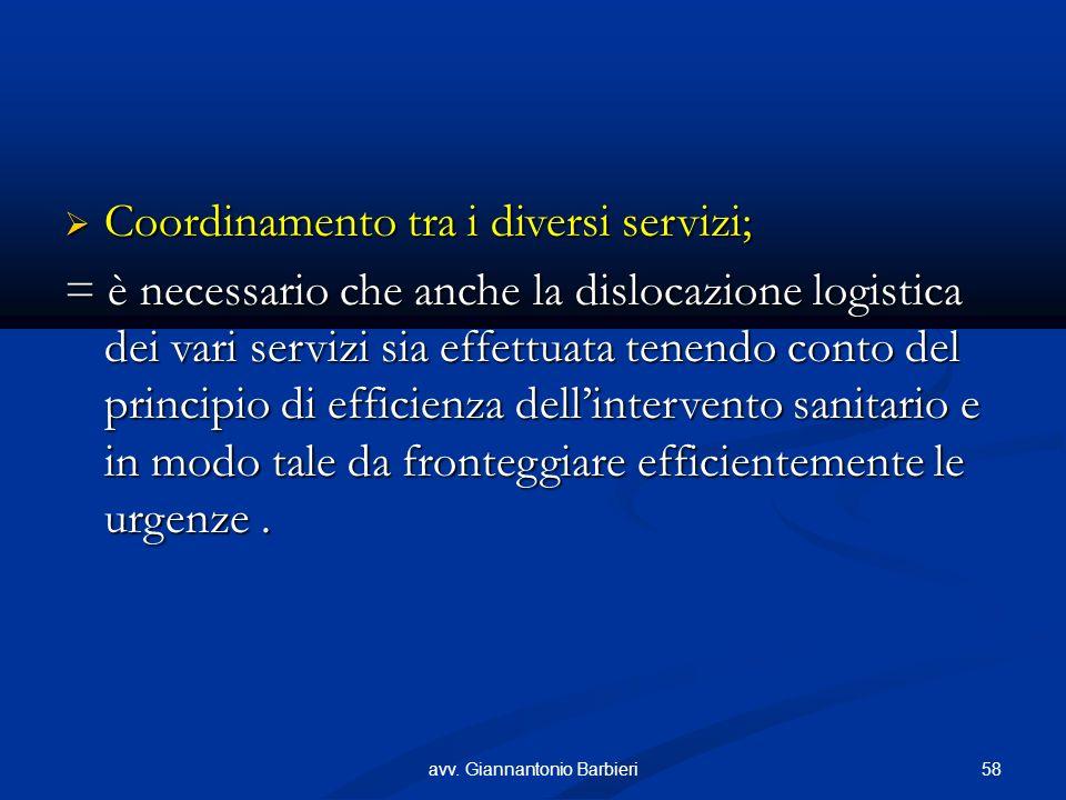 Coordinamento tra i diversi servizi; Coordinamento tra i diversi servizi; = è necessario che anche la dislocazione logistica dei vari servizi sia effettuata tenendo conto del principio di efficienza dellintervento sanitario e in modo tale da fronteggiare efficientemente le urgenze.
