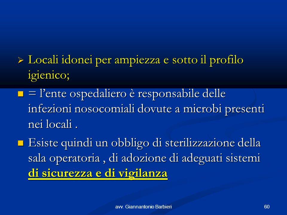 Locali idonei per ampiezza e sotto il profilo igienico; Locali idonei per ampiezza e sotto il profilo igienico; = lente ospedaliero è responsabile delle infezioni nosocomiali dovute a microbi presenti nei locali.