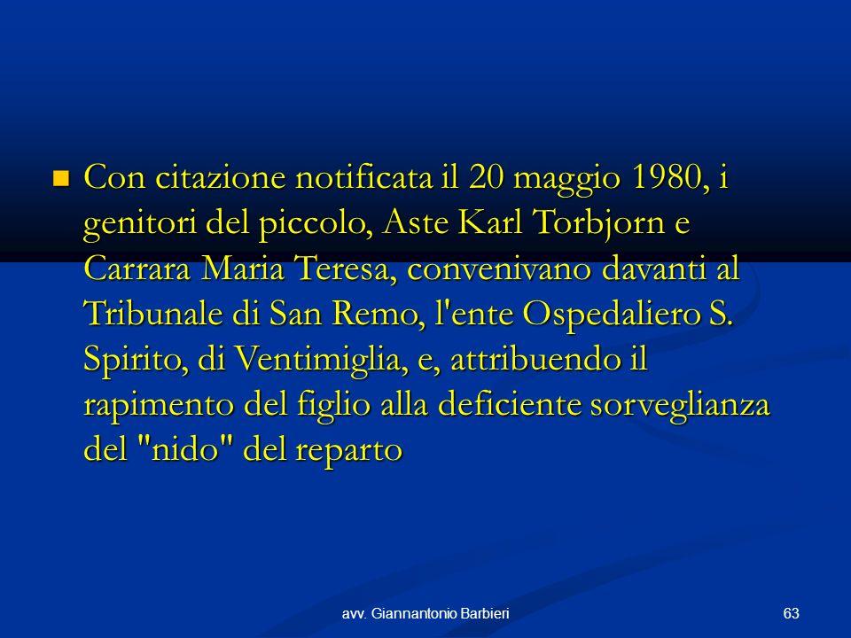 Con citazione notificata il 20 maggio 1980, i genitori del piccolo, Aste Karl Torbjorn e Carrara Maria Teresa, convenivano davanti al Tribunale di San Remo, l ente Ospedaliero S.